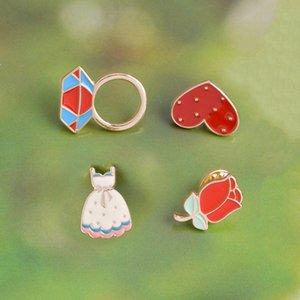 الشخصية الخاصة الدائري بروش الماس الماس الملونة فساتين الورود يحب التلابيب هدايا للأطفال بنات لطيف جدا