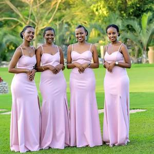 2020 African rosa Meerjungfrau Brautjungfer Kleider Western Country Weddings Garden Maid of Honor Kleider Spaghetti-Bügel-Mädchen der Ehre Kleid BM1917