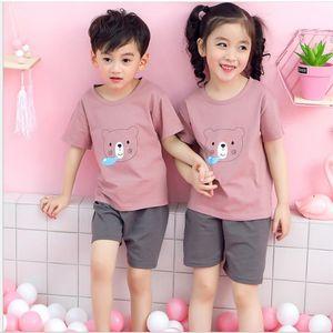 2020 summer children's new Korean version home clothes children's short sleeve suit westernized boys' and girls' T-shirt pajamas Pyjamas