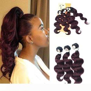 I fornitori dei capelli peruviano Body Wave Virgin dei capelli Bundle Con chiusura del merletto rossi umani Weave con chiusura 1B 99 # Ombre peruviana dei capelli umani