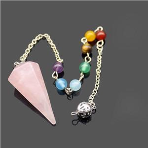 Природный кристалл Gemstone Nacklaces Кристалл Сплошной цвет шестиугольная Остроконечные ювелирных Рэйки Чакра Подвеска Pendulum Nacklace моды
