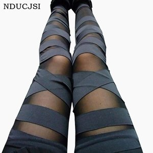 Bandage Leggings Charming Leggins dünne Frauen-Punk Legins Dame Sexy Splicing Hosen Stretch schwarze Hose Patchwork