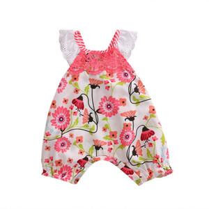 2019 새로운 스타일 신생아 여아 Romper 옷 레이스 Floral Flare 짧은 소매 Romper 점프 슈트 Baby Romper 의상 Sunsuit