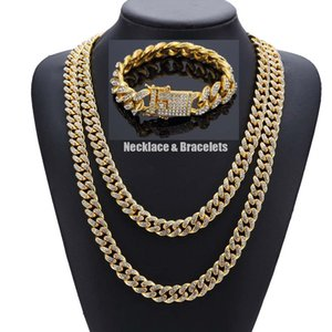 HipHop Bling Bling Full Zirconia Cubico Set di gioielli da donna Uomo MIAMI CUBAN LINK CATENA Iced Out Catene Punk Braccialetti di collana