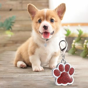 Placa de identificación ID animal doméstico del metal grabada Etiquetas Cuello Pequeño perro grande Accesorios conocido personalizado de la pata etiqueta Placa Decor