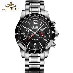 AESOP Mens Relógios Top Marca de Luxo 2019 negócio de relógio de quartzo homens do esporte aço inoxidável impermeável relógio Homens relogio masculino