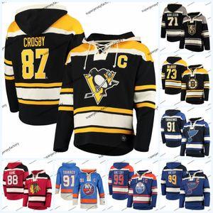 87 Sidney Crosby 47'de Oyuncu Lacer Hoodie forması William Karlsson Charlie McAvoy Patrick Kane John Tavares Vladimir Tarasenko Wayne Gretzky