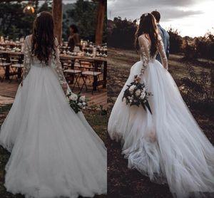 2020 Pays V Backless 3D Fleurs Floral Robes de mariée Robe de mariée Illusion Manches longues Princesse A Line Longues robes de mariée pas cher