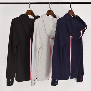 2019 Fashion TB THOM  stripe hooded Clothing Cotton jacket Men Women Sweatshirts Hoodies Male Casual Sportswear Coat