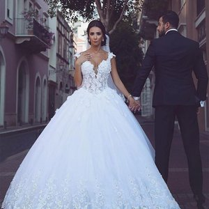 Stunning Saudi African White Wedding Dress 2020 Cap Sleeves V-neck Lace Hand Made Flowers Beaded Crystals Bohemian Wedding Dress Reception
