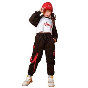 Çocuklar Kızlar Uzun Kollu Bluz Mahsul Kargo Pantolon Çocuk Hip Hop Street Dance Giyim Seti Caz Dans Kıyafetler Çocuk Günlük Suit
