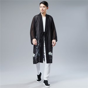 2020 Casual primavera estilo chinês Cardigans Birds Impresso Belt Mens Casacos de Verão de Split Homme Han vestuário chinês