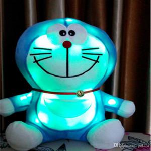 1PC 빛나는 20CM 도라에몽 봉제 장난감 인형 주도 8 인치 일본어 만화 장난감을 조명은 어린이를위한 인형 블루 고양이 베개 수면 동행 조명