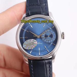 Cellini m50519-0013 CNC Gravür Dalgalı Desen Mavi Kadran İsviçre Tamir 3165 Otomatik Mens Watch Safir Cam Deri Kayış Eğlence Saatler