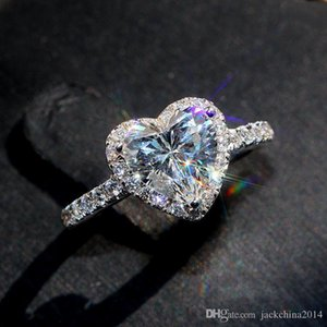 Victoria Wieck Classical Luxury Jewelry 925 Sterling Silver Pear Cut White Topaz CZ Diamond Promise Eternity Wedding Heart Ring for Women