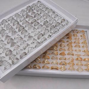 En gros 50pcs / lot d'or d'argent coeur creux amour fleur de la Couronne Mix Style Mode Finger Bagues de femmes Bijoux de mariage cadeau