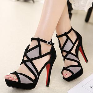 DiJiGirls Novo Design Mulheres Sandálias Plataforma Sapatos de Verão Mulher Gladiador Sandálias De Salto Alto Cropped Costurado Sandálias Abertas Toed 9