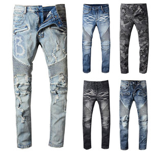 2020 New Balmain Mens Distressed strappato Biker Mens Jeans slim fit Motociclista Denim per gli uomini S Black Fashion 19ss pour hommes