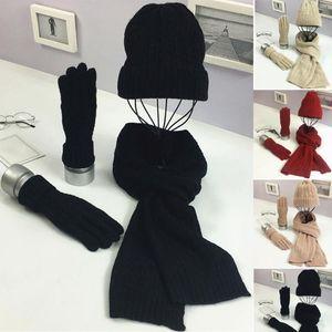 Hiver femme Wooly épais Bonnet Écharpe Gants Set tricotées doux chaud Set Woollen -OPK