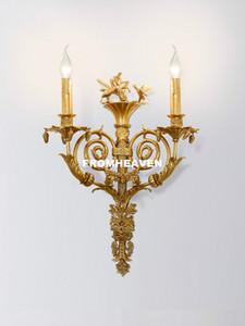 Americal Copper arandelas de parede estilo francês Copper W40cm H60cm Wall Lamp Home Villa Sconce Cristal cabeceira Wall Light Iluminação 100% garantido