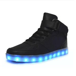 Led Shoes Man USB Light Up Unisex Flats Lovers For Adults Boys Casual Students Glowing With Fashion High Top Lights Shoes
