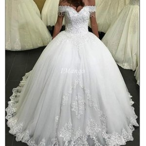 Modest Off The Shoulder Ball Gown Princess Wedding Dresses Lace Appliques Beaded Lace-Up Back Arabi Bridal Gowns Vestidos De Novia