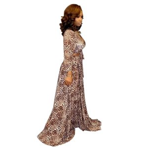 Herbst Leopardenmuster Frauen Set Langarm V-Ausschnitt Blusen Maxi Röcke Anzug zweiteilige Set Club Night Party langes Kleid