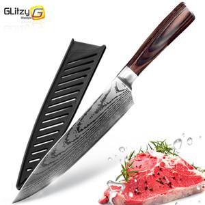 Кухонный нож 8 дюймов Ножи шеф-повара 7cr17 440c Высокоуглеродистая японская нержавеющая сталь Имитация шлифования Дамаск Лазерная модель Santoku