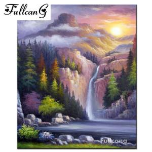 FULLCANG diamante pittura montagna cascata paesaggio piazza piena di strass punto croce mosaico diamante 5d arti ricamo E1337