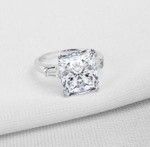 Jóias de luxo Super Desconto Puro 100% 925 Sterling Silver 5A Princesa Cut CZ Promessa Anel de Casamento Anéis Banda para As Mulheres