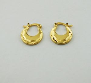 Moda Real 9 k ouro amarelo sólido Cheio Presente de Natal brincos temperamento simples pequeno brinco na moda Jóias plana