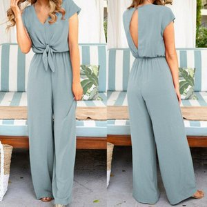 Women Ladies Clubwear Summer Short Sleeve Playsuit Long Pant Bodycon Solid Backless V Neck Party Jumpsuit Romper Trousers
