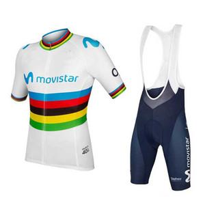 2019 Movistar ciclismo Jersey Maillot Ciclismo manga corta y pantalones cortos de ciclista de ciclo del babero Kits de correa Bicicletas O19121701