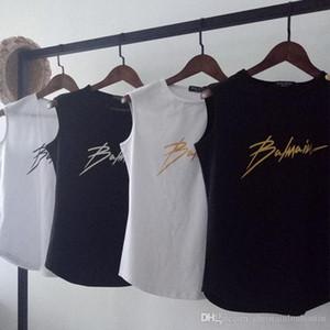 Diseñador de Balmain nueva roca camiseta de las mujeres de la estrella con el mismo párrafo de la tela cruzada imprimir camiseta sin mangas ocasional del chaleco femenino