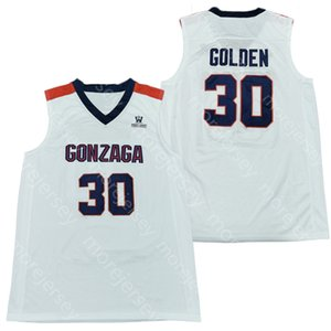 2020 NCAA Gonzaga Bulldogs College Basketball Jersey NCAA 30 Golden White All Stitched and Embroidery Men Youth Size