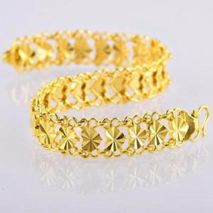Corazón pulsera de muñeca de la cadena 18k Yellow Gold Filled joyería romántica de moda reloj de pulsera de regalo