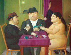 Fernando Botero jogar cartas Home Decor pintado à mão HD impressão pintura a óleo sobre tela Wall Art Canvas Pictures 200205
