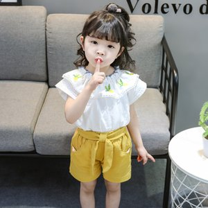 Baby Toddler Girls Clothes 2020 New Summer Casual Children Clothing Set Embroidery White Tops Bow Shorts 2pcs Kids Outfits