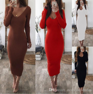 Knitted Long Sleeved Striped Dresses Clothing Double V Women Sexy Bodycon Long Dress Autumn Winter