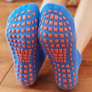1 par de hombres y antideslizante Suelo de calcetines de algodón de mujer yoga Trampolín calcetines del pie pegamento