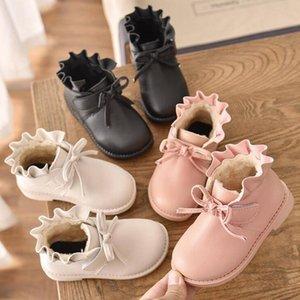 Дети Winter Snow Boots Девушка Мартин Загрузочного лист лотос обувь Открытая кожа Подкладка ботинок для детей ретро руна платья Ботильоны Кроссовки DYP7090