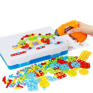 Kids Drill Toys Creative Educational Toy Electric Drill Screws Puzzle Assembled Mosaic Design Building Toys Boy Pretend Play Toy CX200605