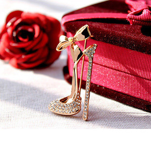 Cristal salto alto Broche saltos altos elegantes sapatos broche For Women Xmas presente Roupas Acessórios Presentes Jewelry