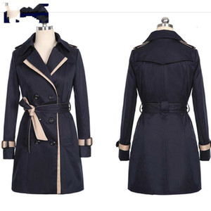 Feminino Trench Coat For Women Fashion Turn-down Collar Double Breasted Contrast Color Long Coats Plus Size