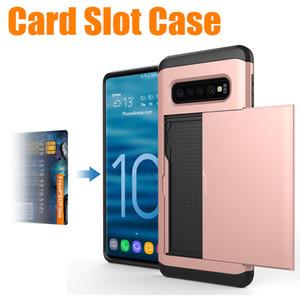 Para samsung s10 case slot para cartão de carteira de armadura de slides slots para samsung galaxy s9 plus s8 s10 lite s10 além de