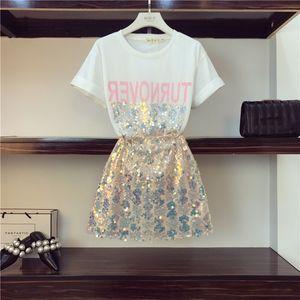 OCEANLOVE 2019 T-shirt Lettres D'impression D'été + Paillettes Sexy Zipper Mini Jupe Deux Pièces Ensembles Femmes Parti Costumes De Mode 11249