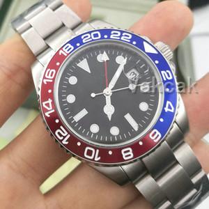 2019 Nueva GMT cerámica para hombre bisel de acero inoxidable mecánico automático 2813 Mecanismo de relojería Deportes ayudante relojes de pulsera de Pepsi