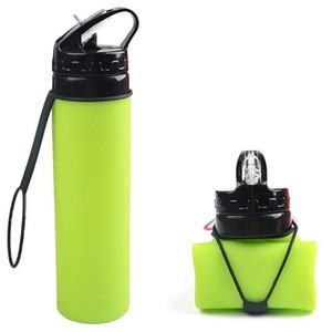 Творческий Езда Складные 600 мл Бутылки с Водой Спорт На Открытом Воздухе Портативный Складной Пищевой Силиконовые Чашки Для Воды С Соломой DH0769