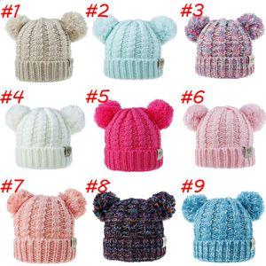 Çocuk Şapkası Yün Örgü Caps Sonbahar ve Kış Yeni Twist Dokuma Çift Topu Saç Topu Şapka Erkekler ve Kızlar Caps