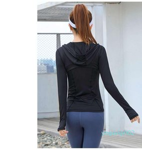 Running Jacket Hooded Cardigan Yoga Jacket Ladies Sports Top Long Sleeve Zipper Yoga Top Sportswear Quick Dry Tracksuit Lady Running Jacket